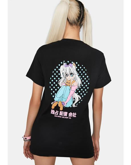 Anime Milk Mustache Graphic Tee