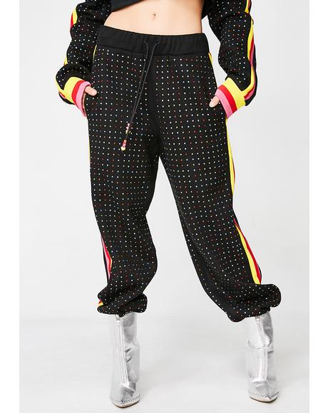 Rainbow Diamante Joggers