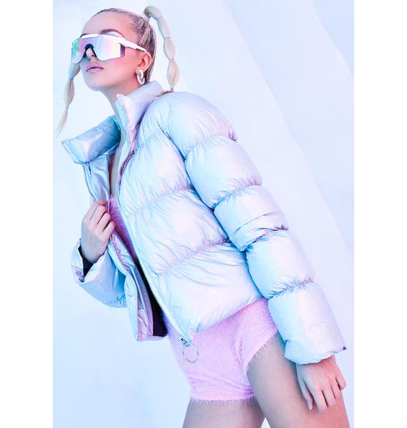 Club Exx Moonstone Holographic Puffer Jacket
