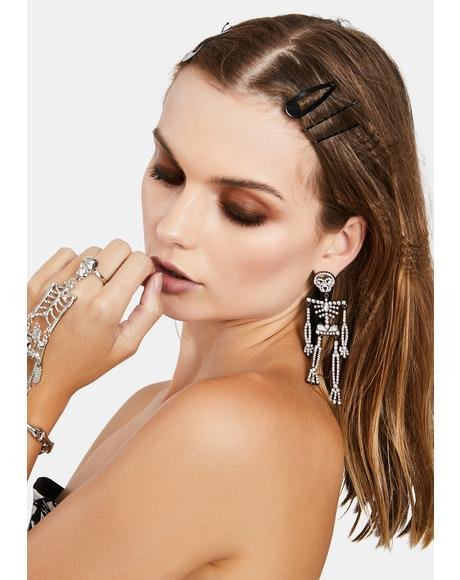 Skeleton Rhinestone Earrings
