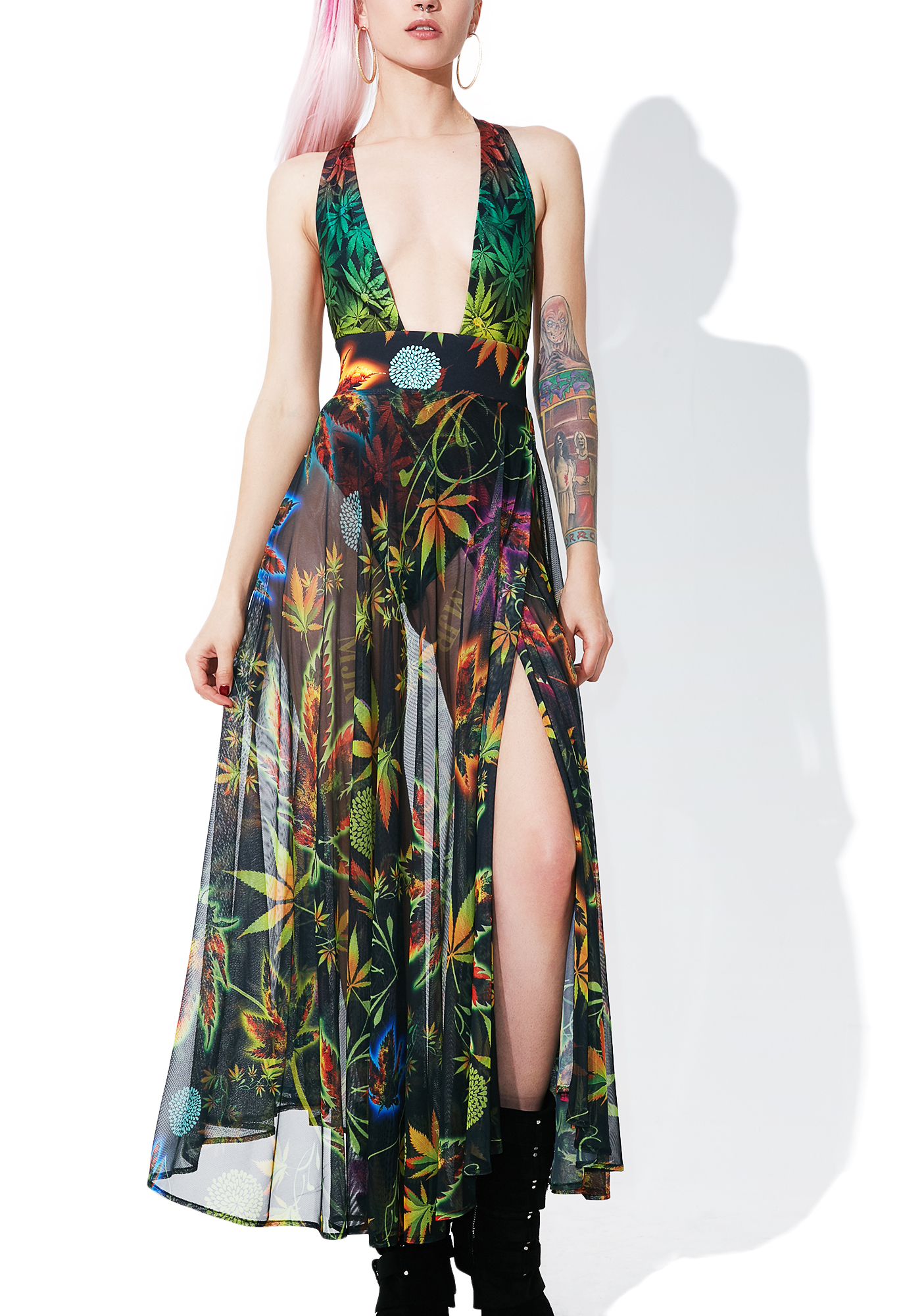 Cannabis Sheer Mesh Maxi Skirt