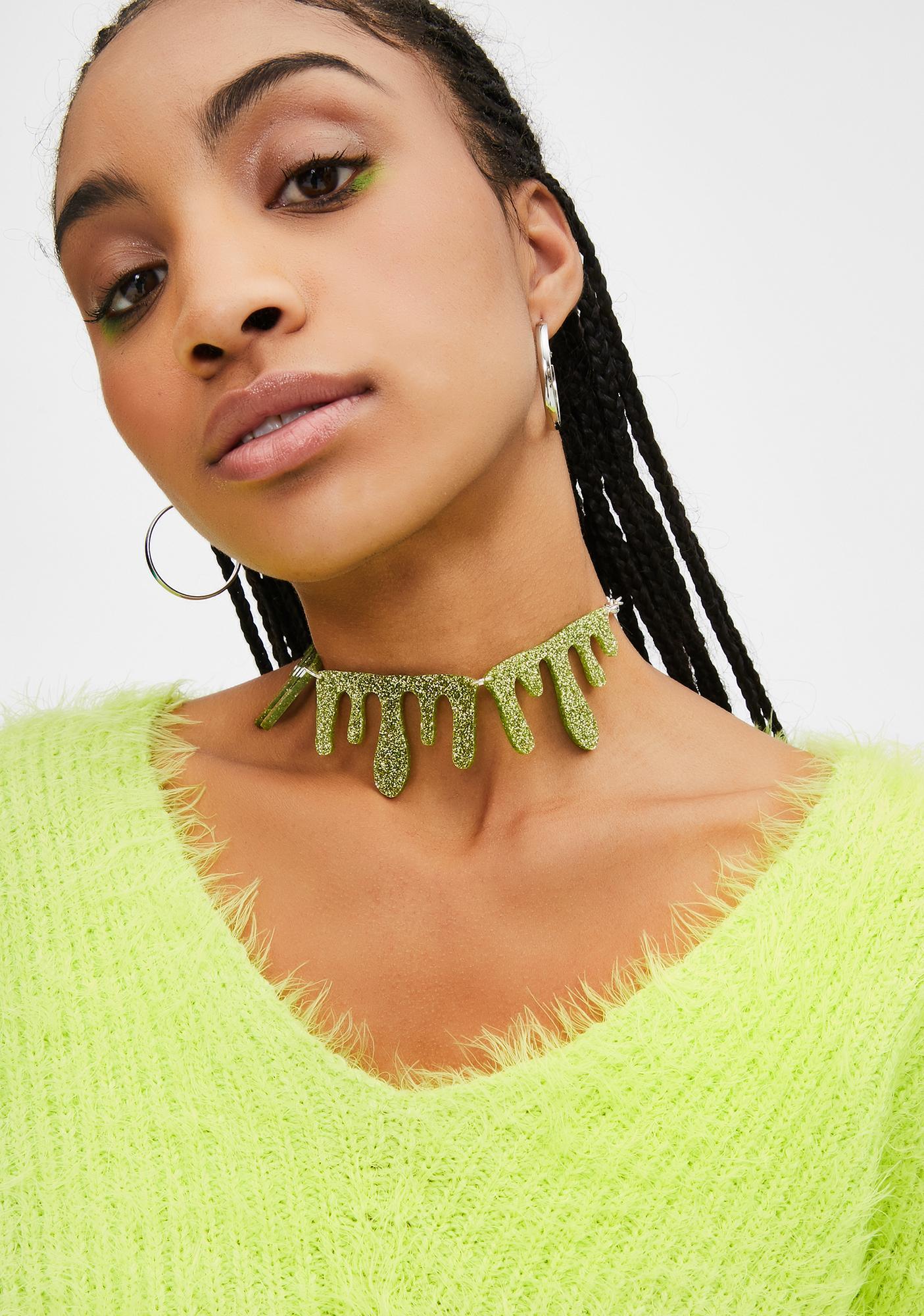 No Basic Bombshell Green Glitter Slime Necklace