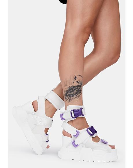 White Purple Mulberry Platform Sandals