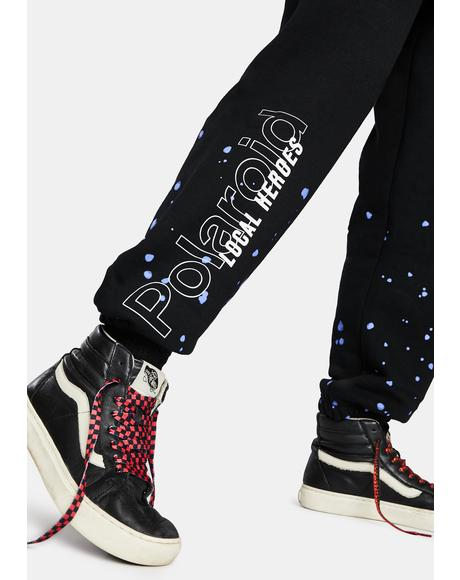 x Polaroid Spray Black Sweatpants