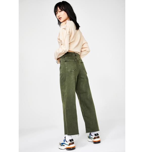 Hidden Denim Kush Nori Utility Cropped Wide Leg Jeans
