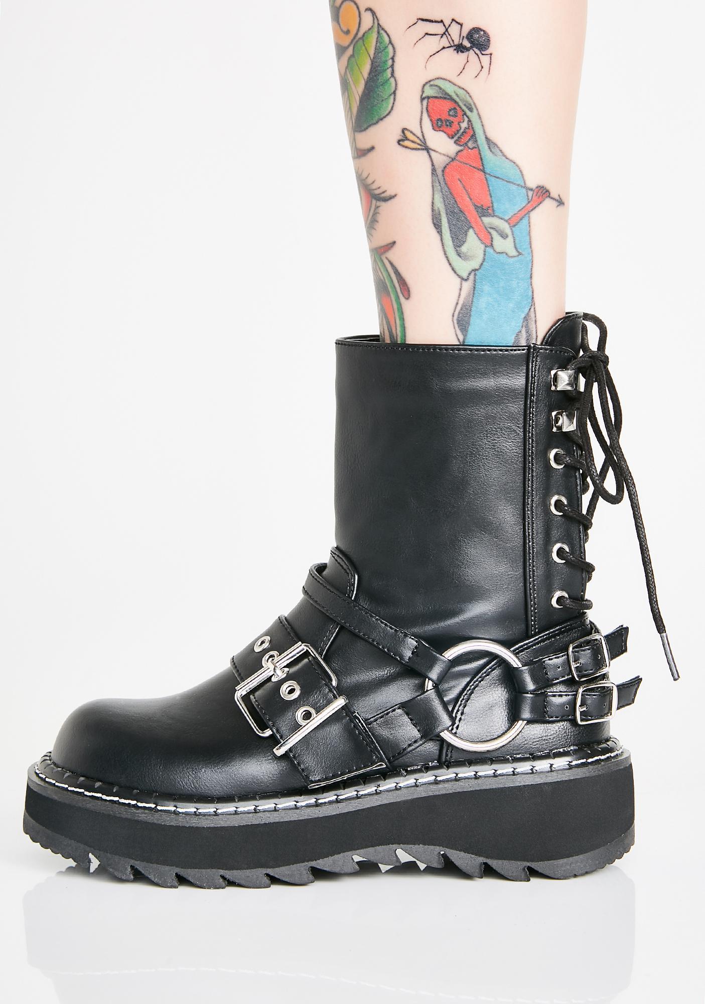 Demonia Dark Quadrant Platform Boots