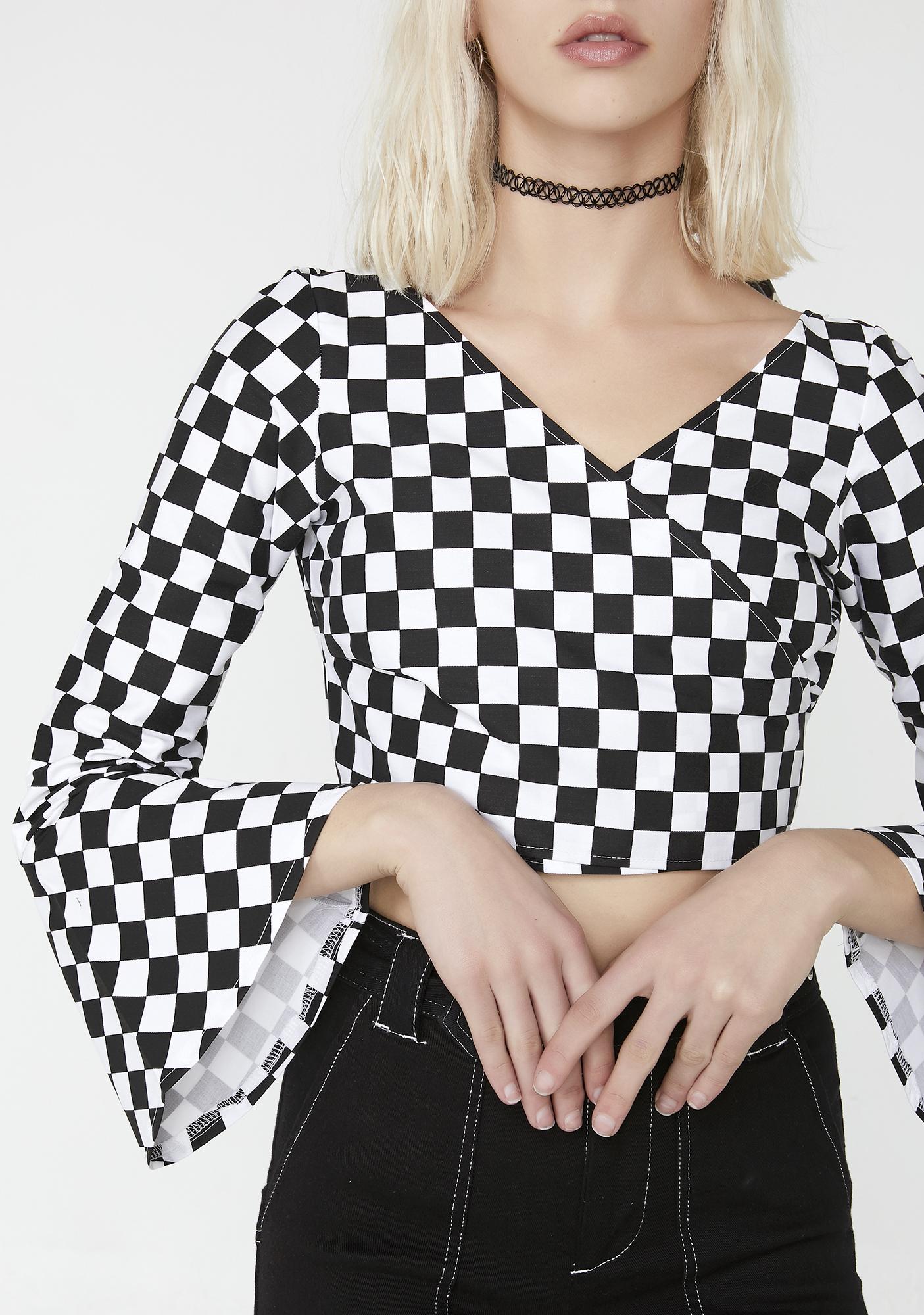 LOVE TOO TRUE Checkerboard Wrap It Top