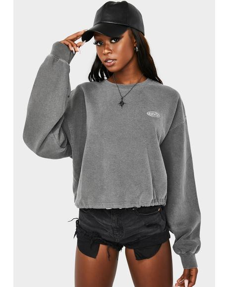 Grey Marl Bubble Hem Sweatshirt