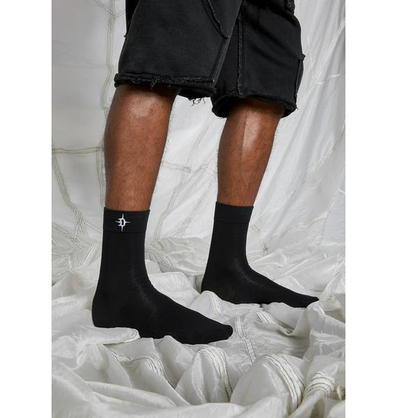 DARKER WAVS Synth Embroidered Logo Crew Socks