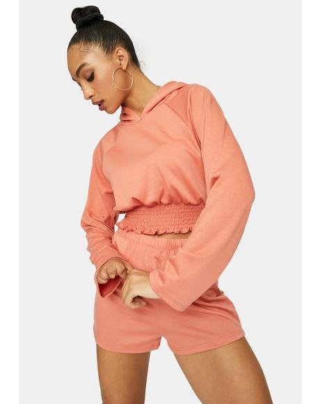 Peach Follow The Leader Crop Hoodie Set