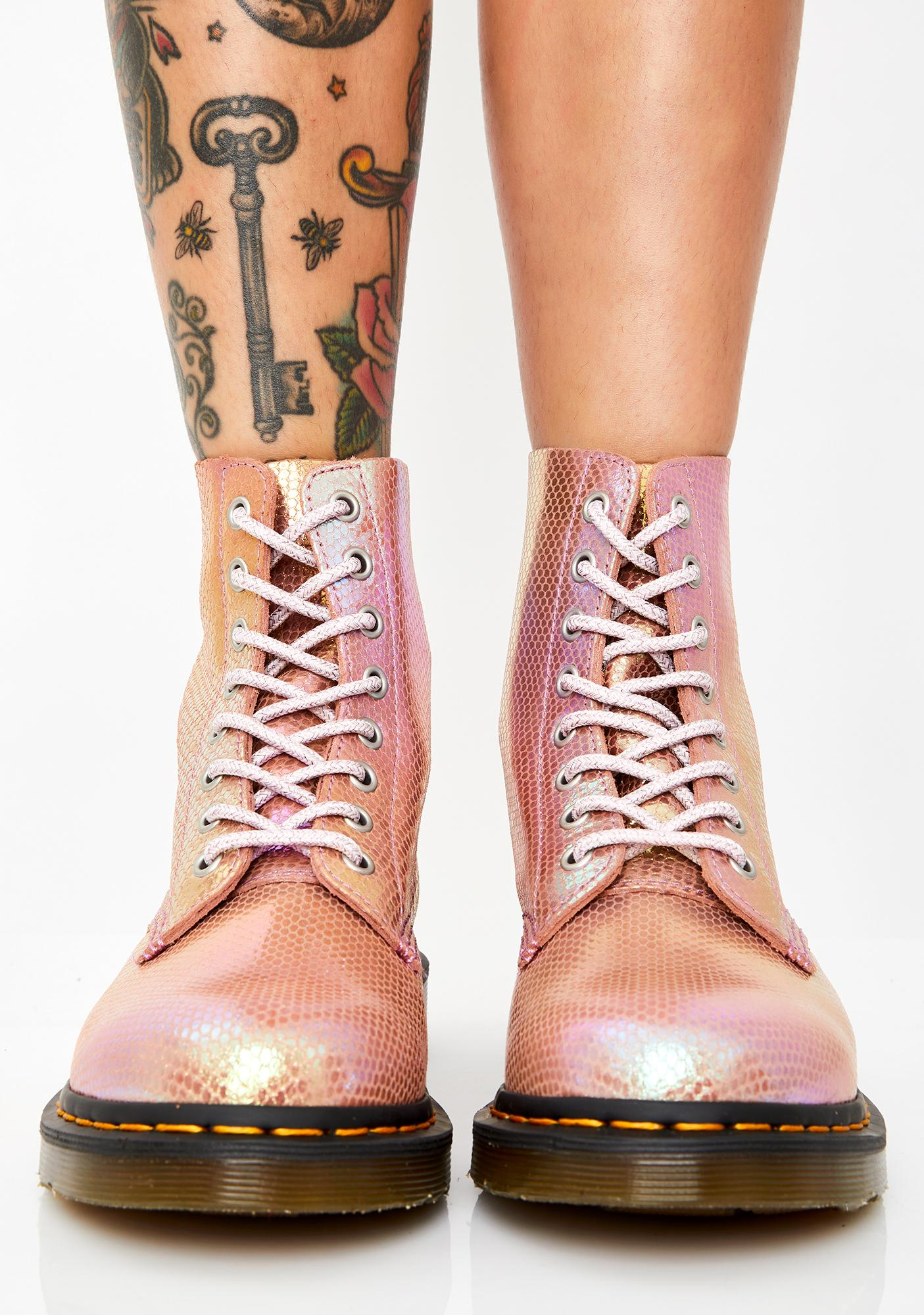 Dr. Martens 1460 Pascal Pink Duo Chrome Boots