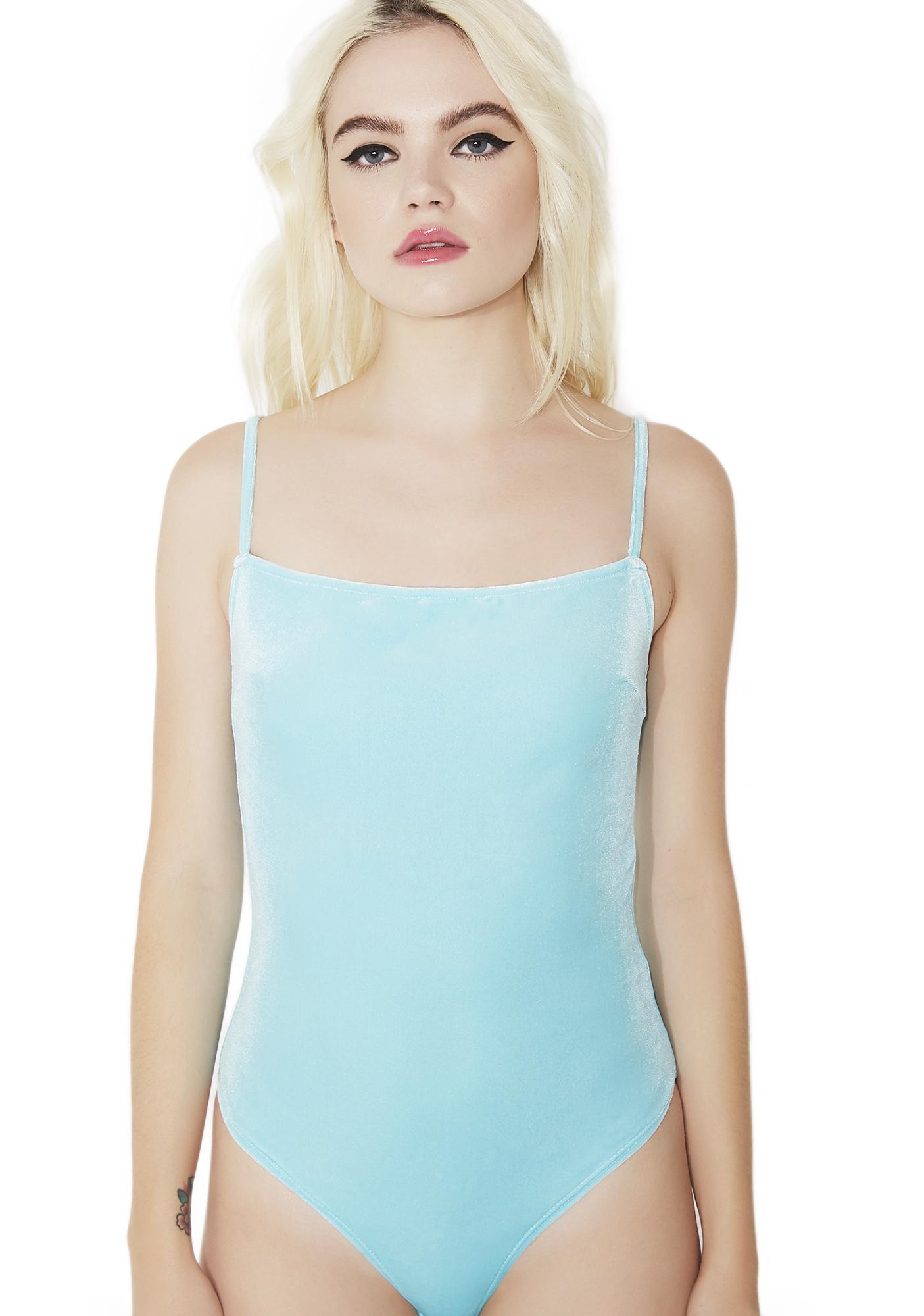 Light Blue Velvet Bodysuit