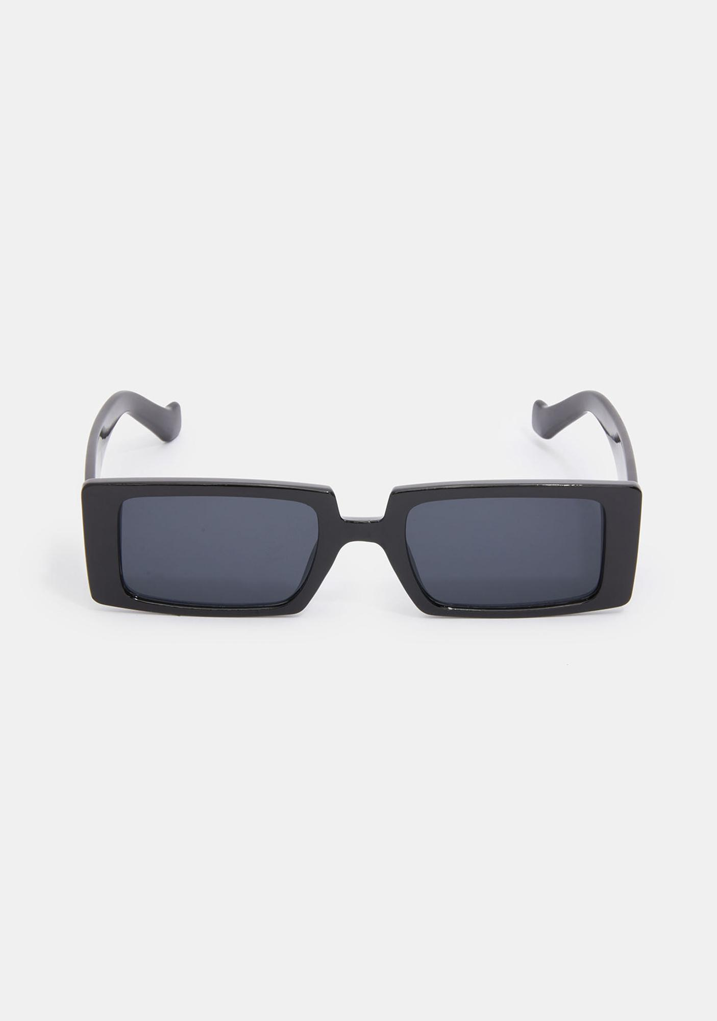 Noir Straight To Business Rectangle Sunglasses
