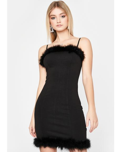 Noir Totally Untouchable Marabou Dress