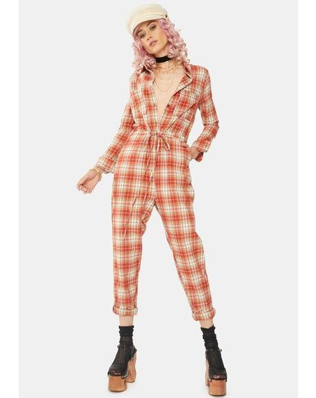 Relaxed Plaid Jumpsuit