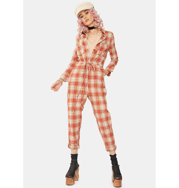 Daisy Street Relaxed Plaid Jumpsuit
