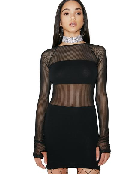 Censored Mesh Mini Dress