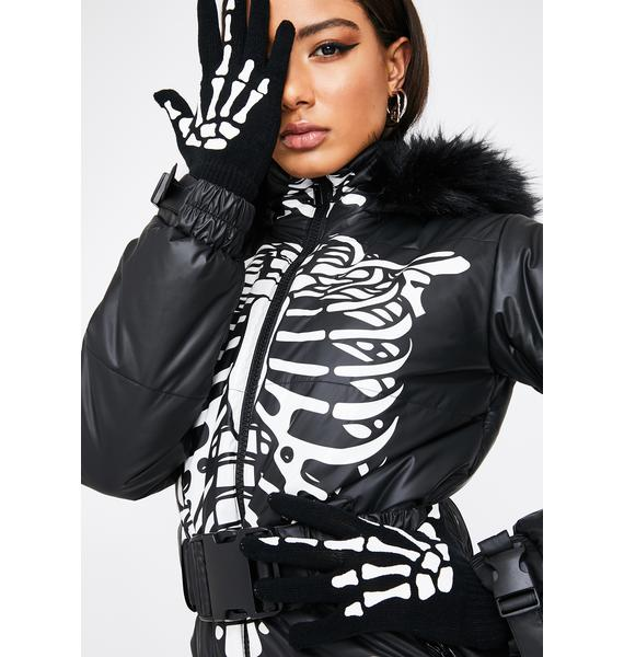 Too Fast Up Yours Skeleton Hand Gloves