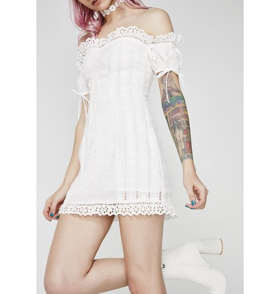 For Love & Lemons Anabelle Eyelet Laceup Dress