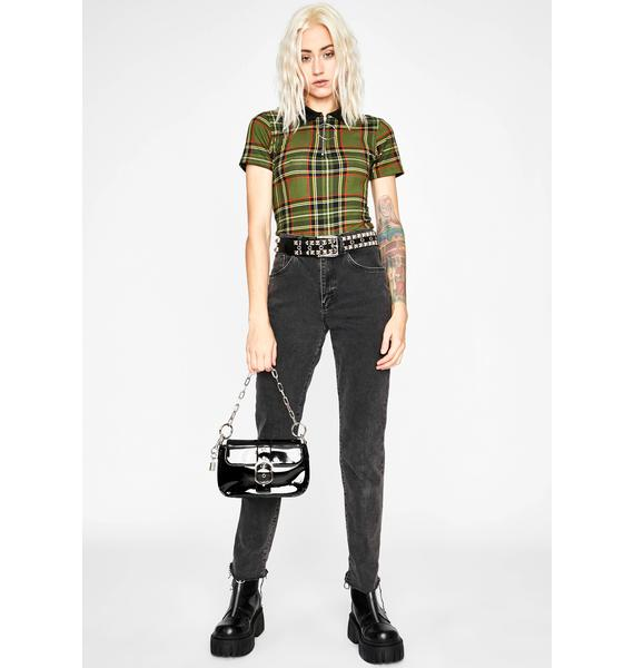 Olive Schoolgirl Sass Cropped Polo