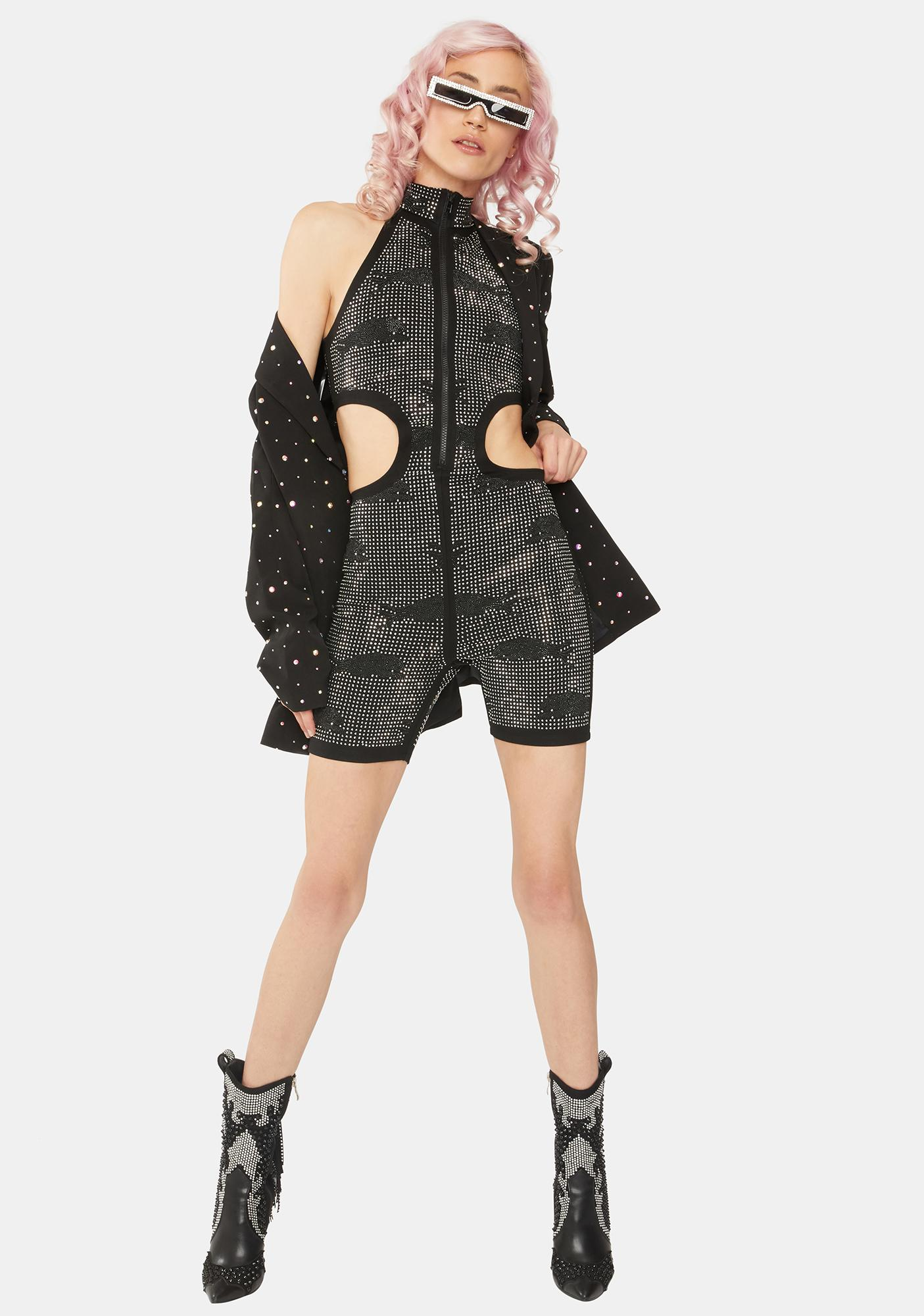 Lipt The Label Black Compound Rhinestone Romper