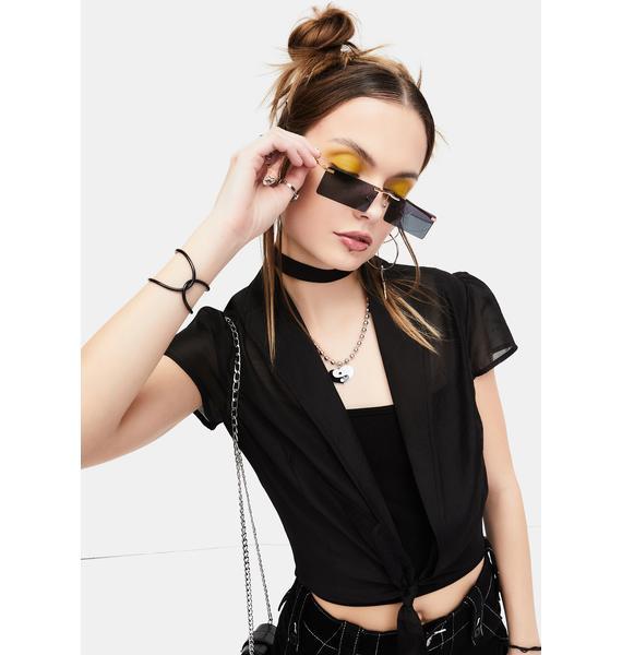 Noir Lil Bit Shady Frameless Rectangle Sunglasses