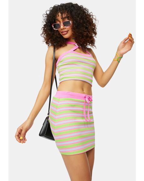 Got The Funk Striped Halter Top And Skirt Set