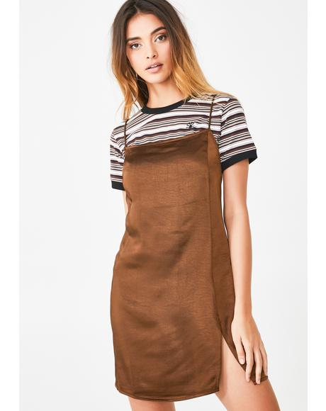 Brown Datista Slip Dress