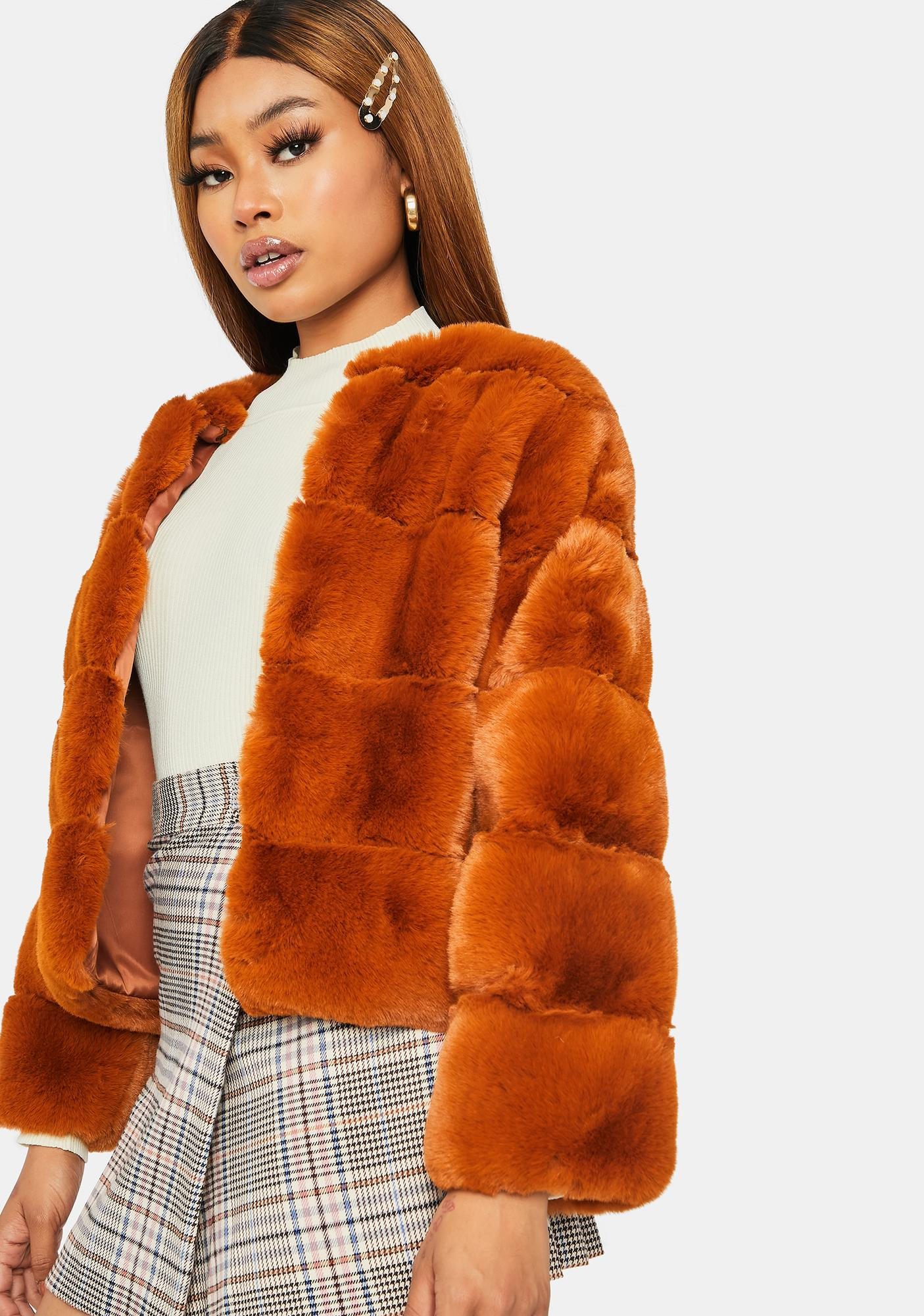 Rust Forever Ur Bae Faux Fur Jacket