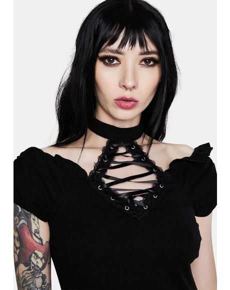 Gothic Lace Up Collar Short Sleeve Shirt