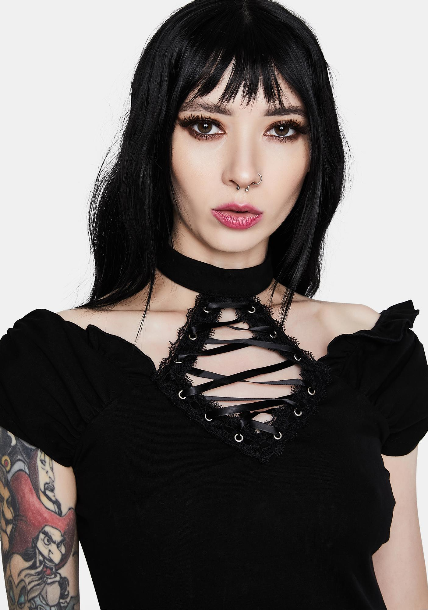 Dark In Love Gothic Lace Up Collar Short Sleeve Shirt