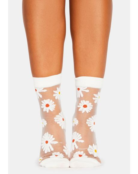 Petal Parade Sheer Embroidered Ankle Socks