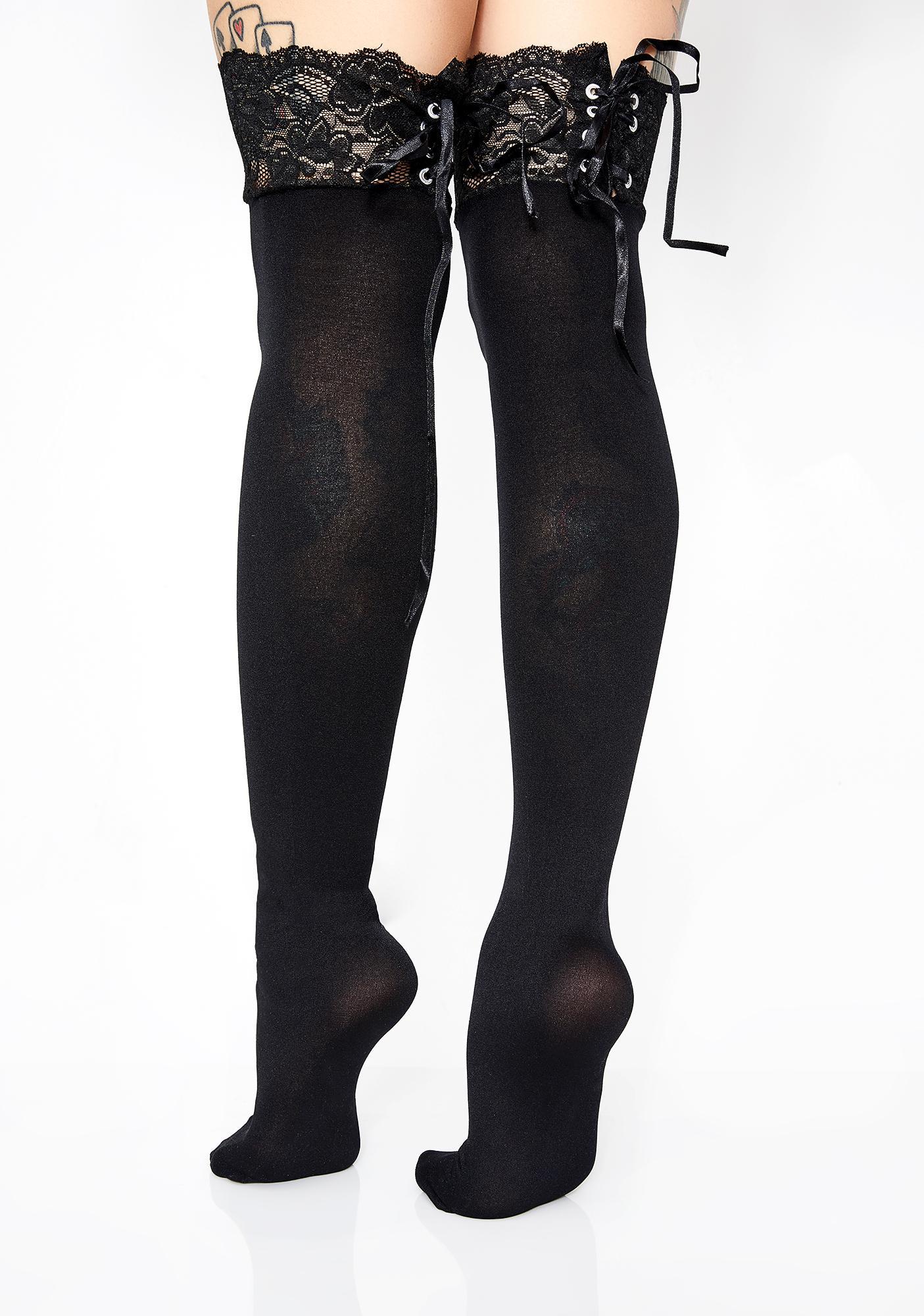 d7dc90e11cc Corset Lace Thigh High Socks