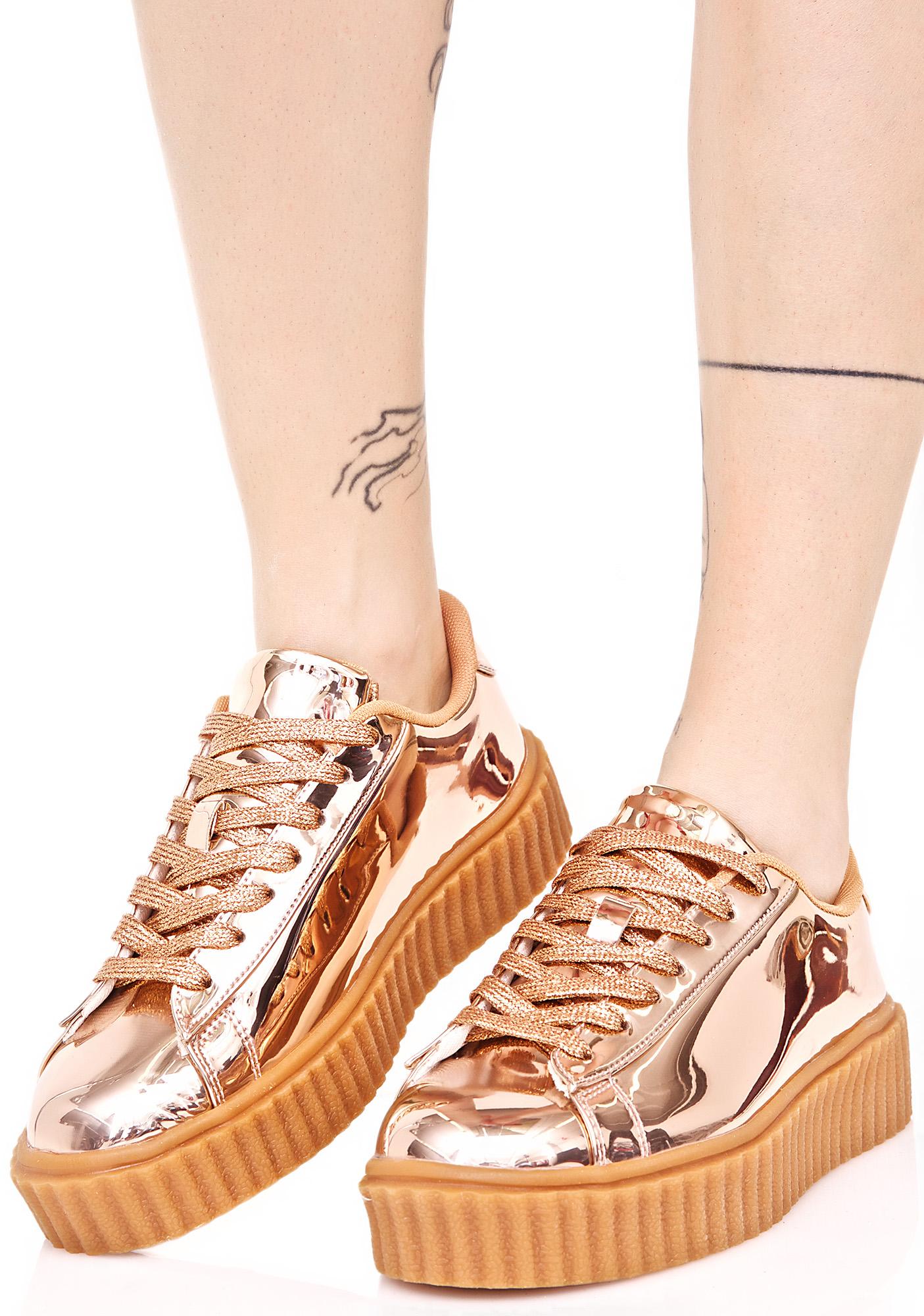Rose Gold Metallic Creeper Sneakiers