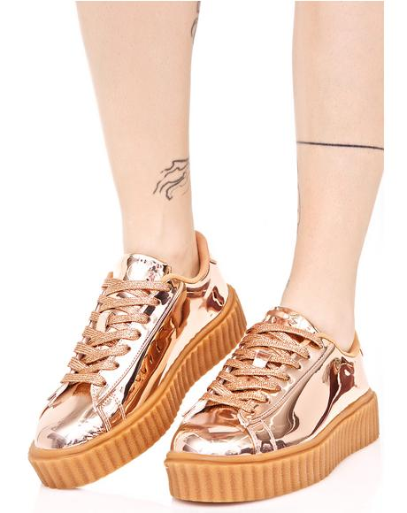 Rose Trophies Metallic Creeper Sneakers