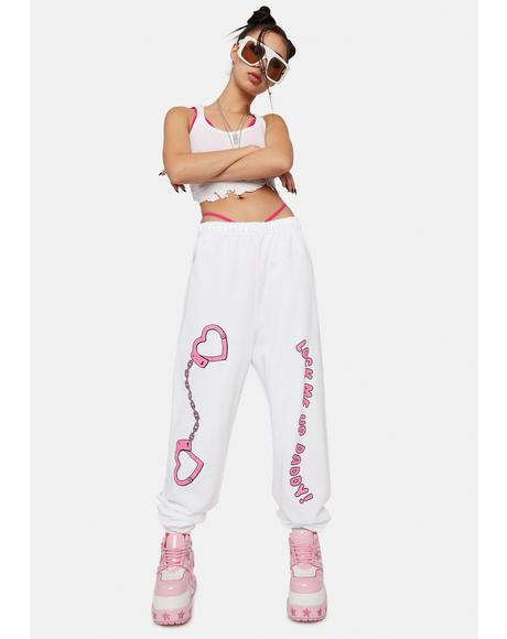 White Lock Me Up Sweatpants
