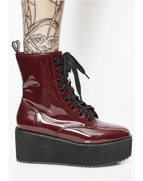 Burgundy Stomp Hi Patent Boots