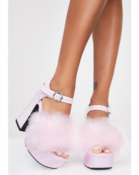 Blushin' N' Crushin' Marabou Heels