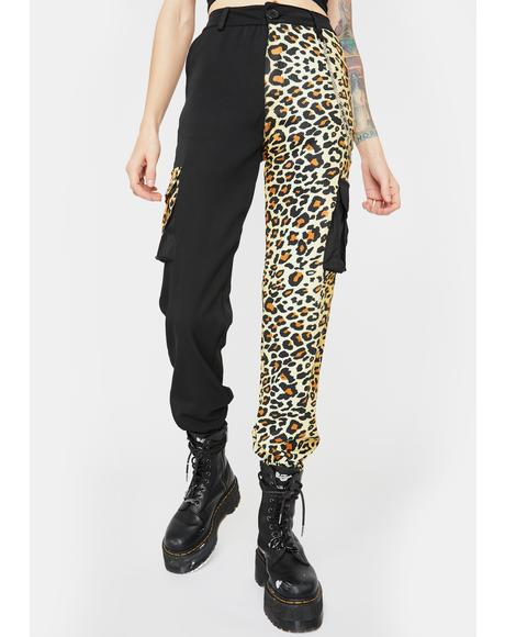 Black Leopard Chained Trousers