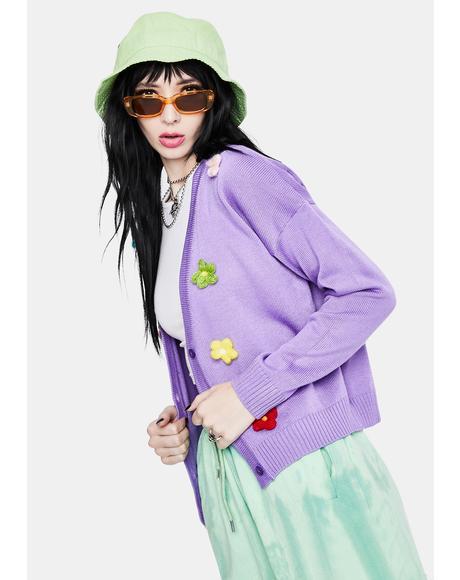 Lilac Chunky Daisy Cardigan