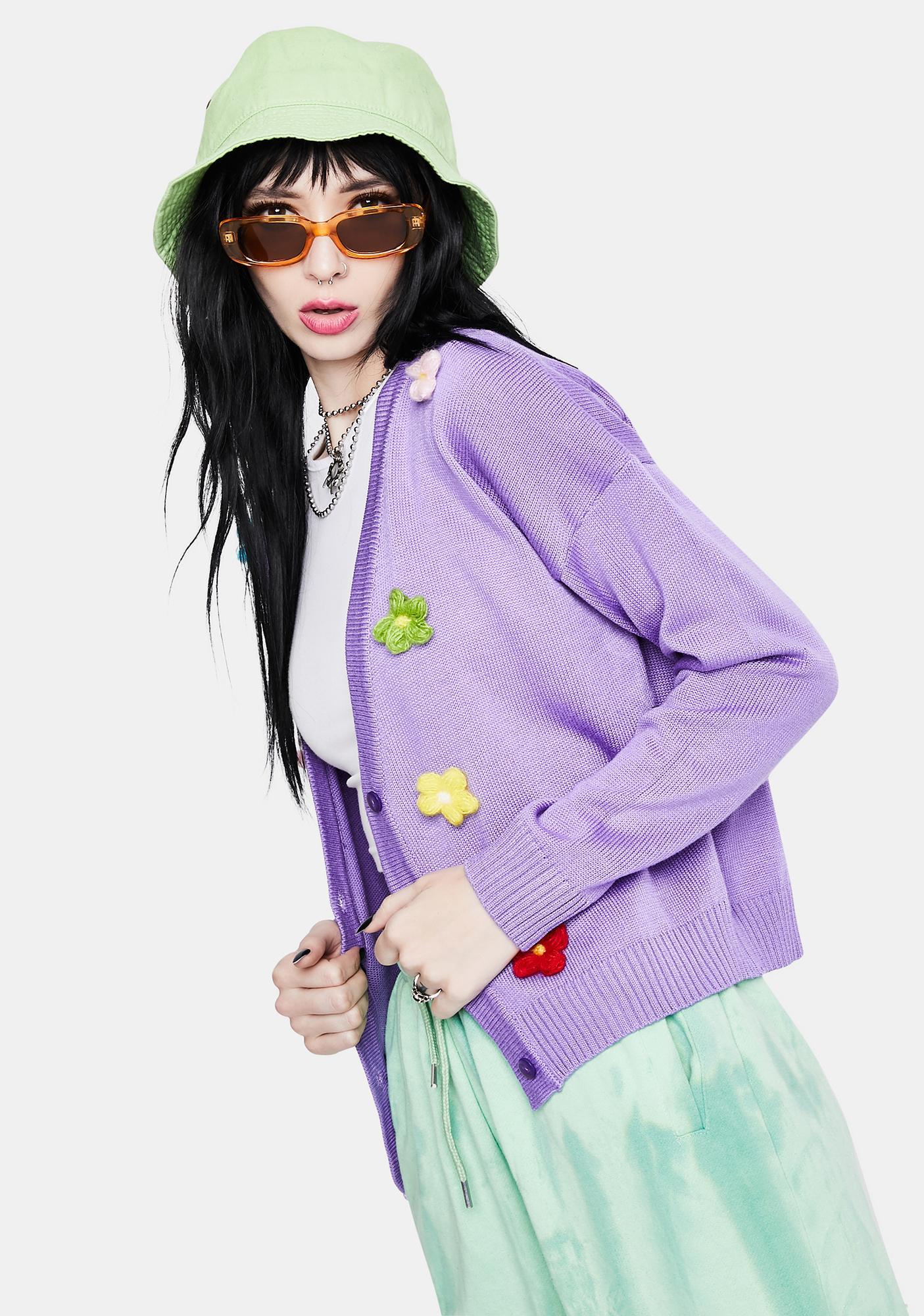 Daisy Street Lilac Chunky Daisy Cardigan