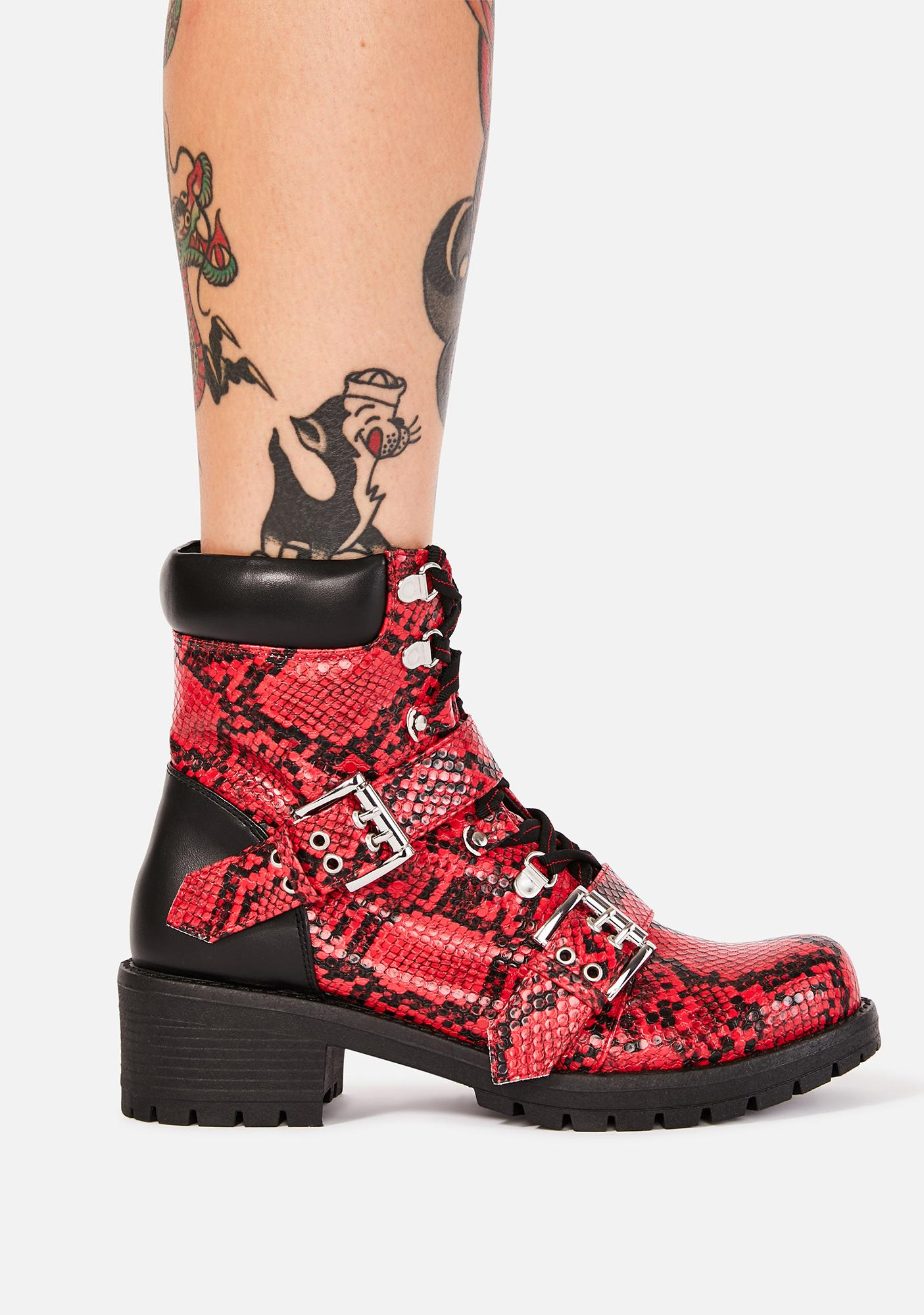 Red Wreck Havoc Buckle Boots