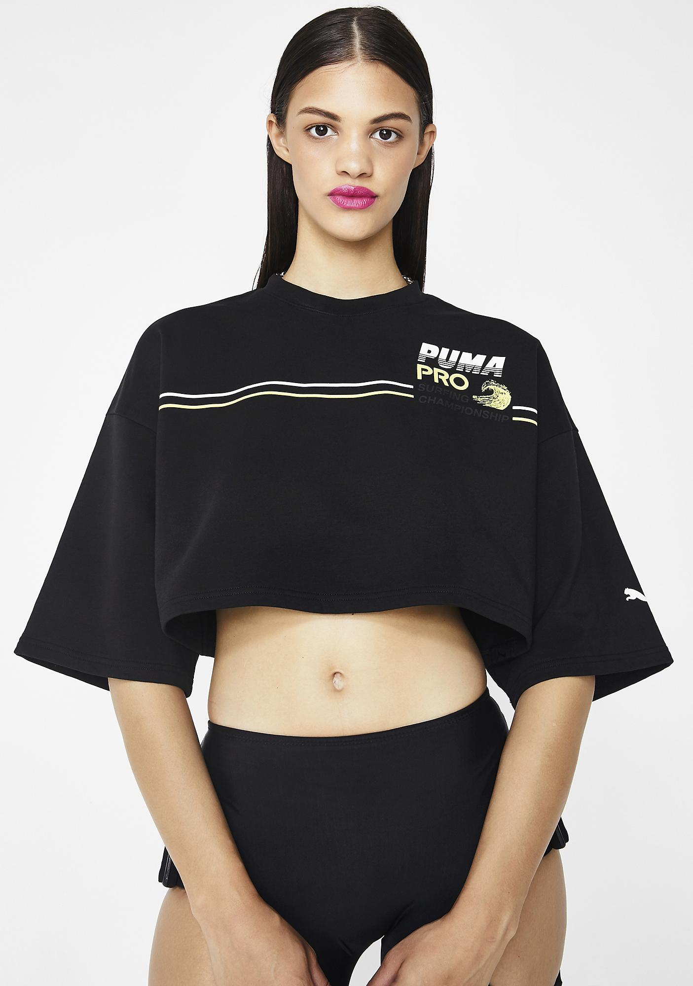 new product a2b08 43d12 Onyx FENTY PUMA By Rihanna Cropped Crew Neck T-Shirt