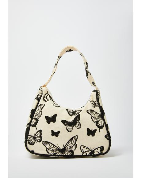 Butterfly Motive Canvas Shoulder Bag