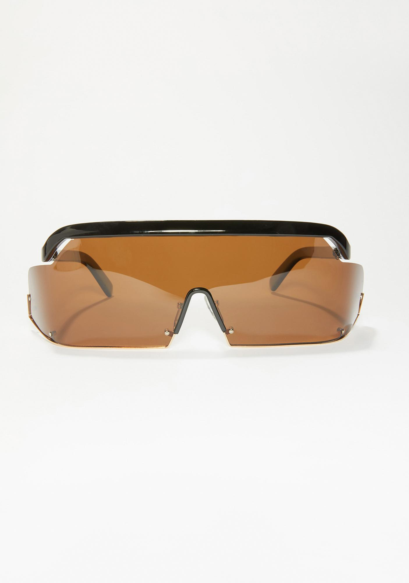 Synth Brown Shield Sunglasses