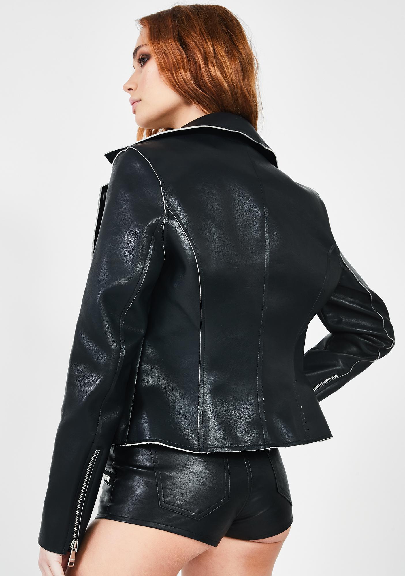 VIGOSS Black Faux Leather Moto Jacket
