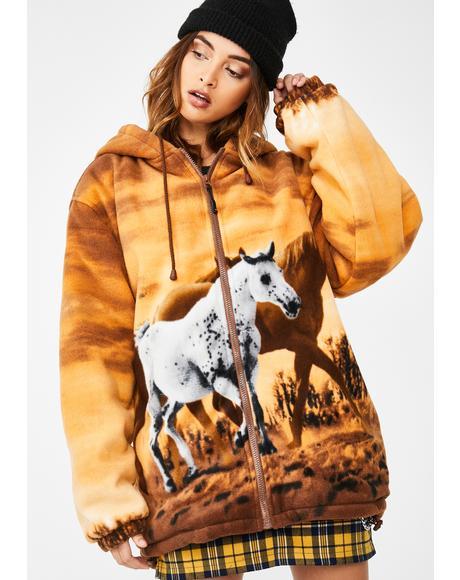 Horse Girl Sherpa Hoodie
