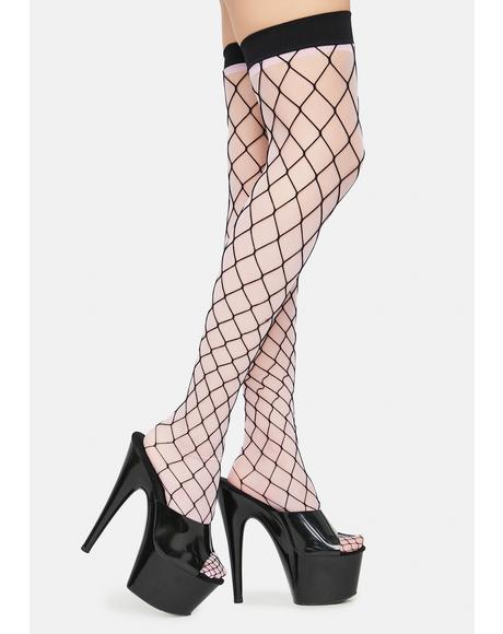 Next Level Diamond Fishnet Thigh Highs