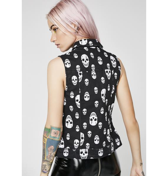 Tripp NYC Toxic Skull Jean Jacket Vest