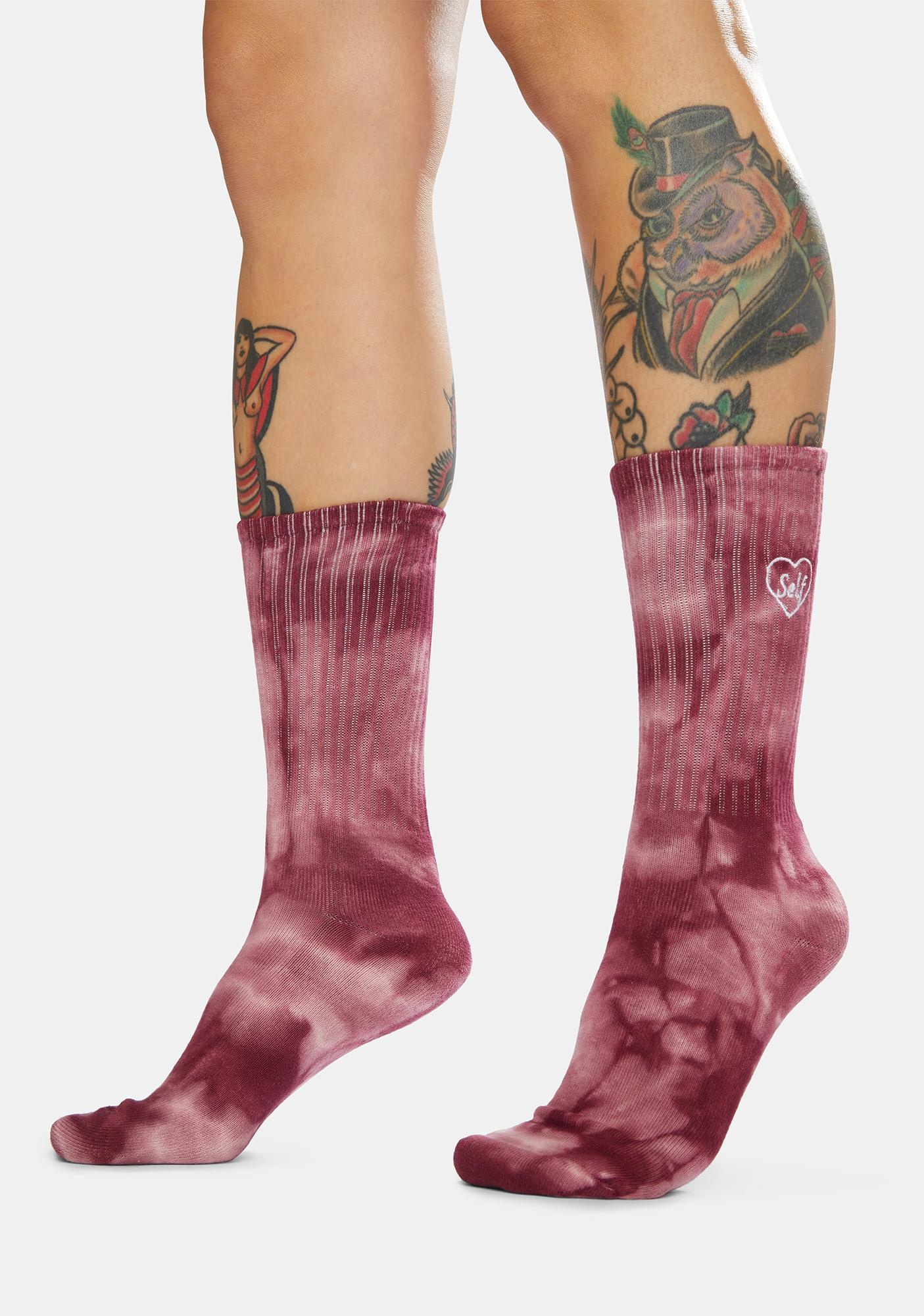 Petals and Peacocks Pink Heart Tie Dye Embroidered Crew Socks